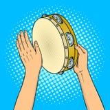 Mains avec l'illustration de vecteur d'art de bruit de tambour de basque Image stock