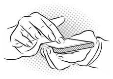 Mains avec le geste de contact sur le mobile Image stock