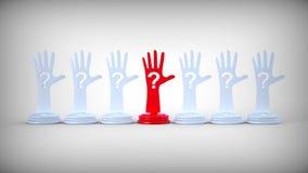 Mains avec le point d'interrogation. Illustration Stock