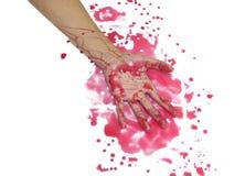 Mains avec le sang sur le fond blanc Photo stock