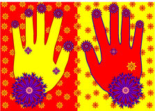 Mains avec le tracery illustration stock