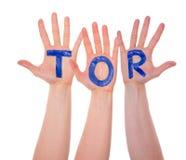 Mains avec Tor Means Goal, d'isolement image libre de droits