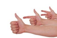 Mains caucasiennes comptant d'un à trois Image stock