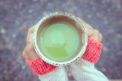 Mains chaudes tenant le thé chaud photographie stock libre de droits
