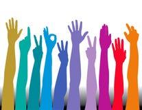 mains colorées Photographie stock libre de droits