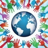 Mains colorées autour du monde Images libres de droits
