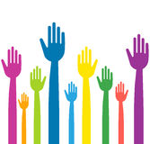 Mains colorées avec les doigts droits Photos libres de droits