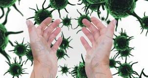 Mains contre les cellules vertes 4k de bactéries banque de vidéos