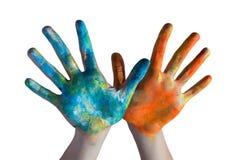 Mains croisées colorées photo libre de droits