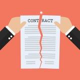 Mains déchirant le papier de document de contrat illustration stock