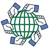 Mains d'équipe tenant l'illustration de globe illustration libre de droits