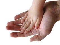 Mains d'enfant et de parent ensemble Photo libre de droits