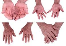 Mains d'homme aîné mûr, mâle d'isolement sur le blanc Photographie stock libre de droits