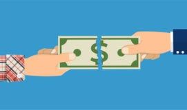 Mains d'homme d'affaires déchirant le billet de banque d'argent Photos libres de droits