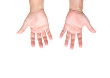 Mains d'homme d'isolement sur le fond blanc ; chemin de coupure Photo libre de droits
