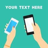 Mains d'homme et de femme avec des téléphones Copiez l'espace Illustration plate minimale de vecteur pour la copie ou le Web Photos libres de droits
