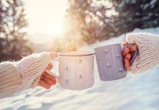 Mains d'homme et de femme dans des mitaines de tricotage avec des tasses de thé chaud sur la clairière de forêt d'hiver Photo stock