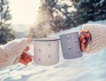 Mains d'homme et de femme dans des mitaines de tricotage avec des tasses de thé chaud sur la clairière de forêt d'hiver Images stock