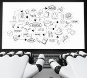 mains 3d robotiques dactylographiant sur un ordinateur portable avec le croquis d'obtention du diplôme Photographie stock libre de droits