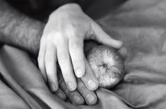 Mains d'un homme et d'une femme dans le lit Photographie stock