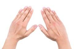 Mains d'un homme montrant cinq compte, concept de travail d'équipe Photos libres de droits