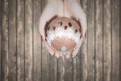 Mains d'une femme avec la boule de Noël Image stock