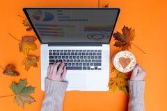 Mains dactylographiant à l'ordinateur portable et à la tasse de cappuccino Photo stock