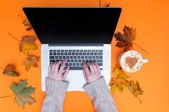 Mains dactylographiant à l'ordinateur portable et à la tasse de cappuccino Photo libre de droits