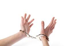 Mains dans des menottes Photos libres de droits