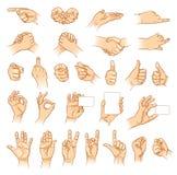Mains dans différentes interprétations illustration de vecteur
