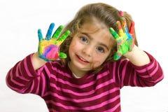 Mains dans la peinture image libre de droits