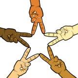 Mains dans le signe de paix formant une étoile Photos libres de droits