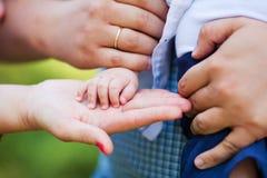 Mains de bébé et de mère Image stock