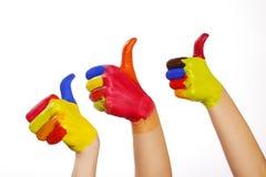 Mains de Colourfull avec le chemin de découpage Photos stock