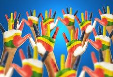 Mains de couleur photo libre de droits