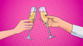 Mains de couples faisant tinter le verre de Champagne Wine Toasting Pop Art rétro Pin Up Background Image libre de droits