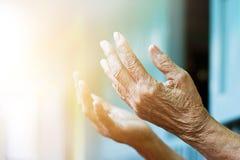 Mains de femme agée priant avec la paix de l'esprit et loyalement photos libres de droits