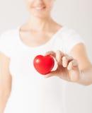 Mains de femme avec le coeur Photos libres de droits
