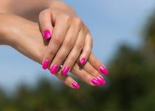 Mains de femme avec le plan rapproché rose manicured de clous Voiture de peau et de clou Photo libre de droits