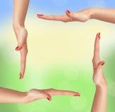 Mains de femme comme cadre au-dessus de fond de nature photos libres de droits