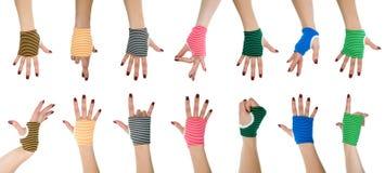 Mains de femme dans les gants images libres de droits