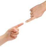 Mains de femme et d'homme Photo stock