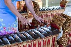 Mains de femme et instrument de musique traditionnel de Balinese gamelan ville courante de coucher du soleil de forme de bel Indo images stock