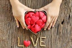 Mains de femme tenant en forme de coeur rouge Images stock