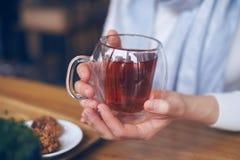 Mains de femme tenant la tasse chaude de thé pour chauffer des mains Photo libre de droits