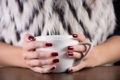 Mains de femme tenant la tasse de thé à disposition photos libres de droits