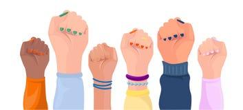 Mains de femmes avec la couleur de la peau différente Affiche de puissance de fille positionnement Mains avec différents piégeage illustration libre de droits
