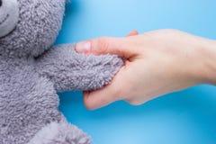 mains de fille tenant un ours de nounours image stock