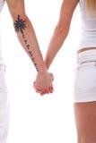 Mains de fixation de couples Images stock