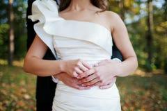 Mains de fixation de couples de mariage Image stock